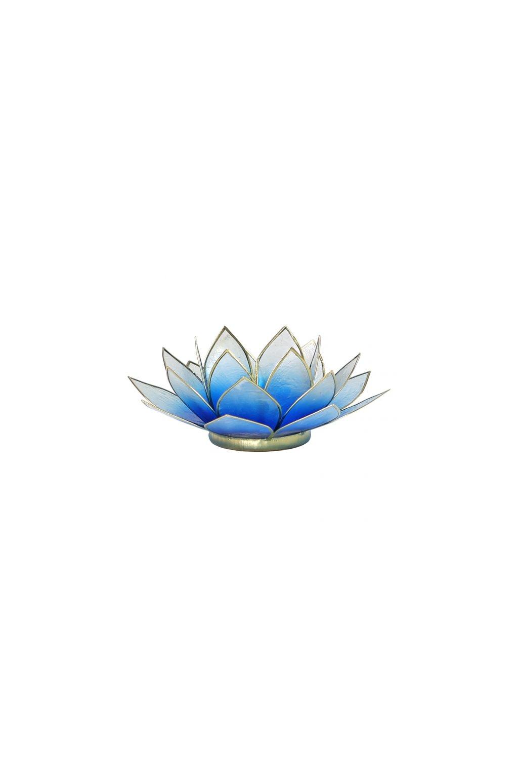 Lotosový svícen - modro-bílá