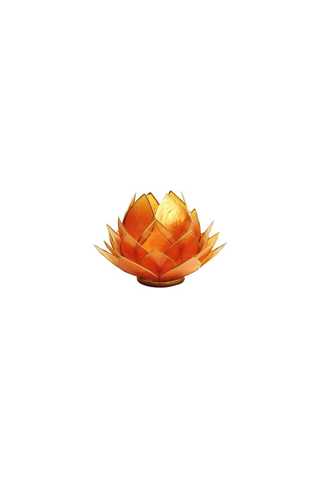 Lotosový svícen - oranžovo-zlatý - velký