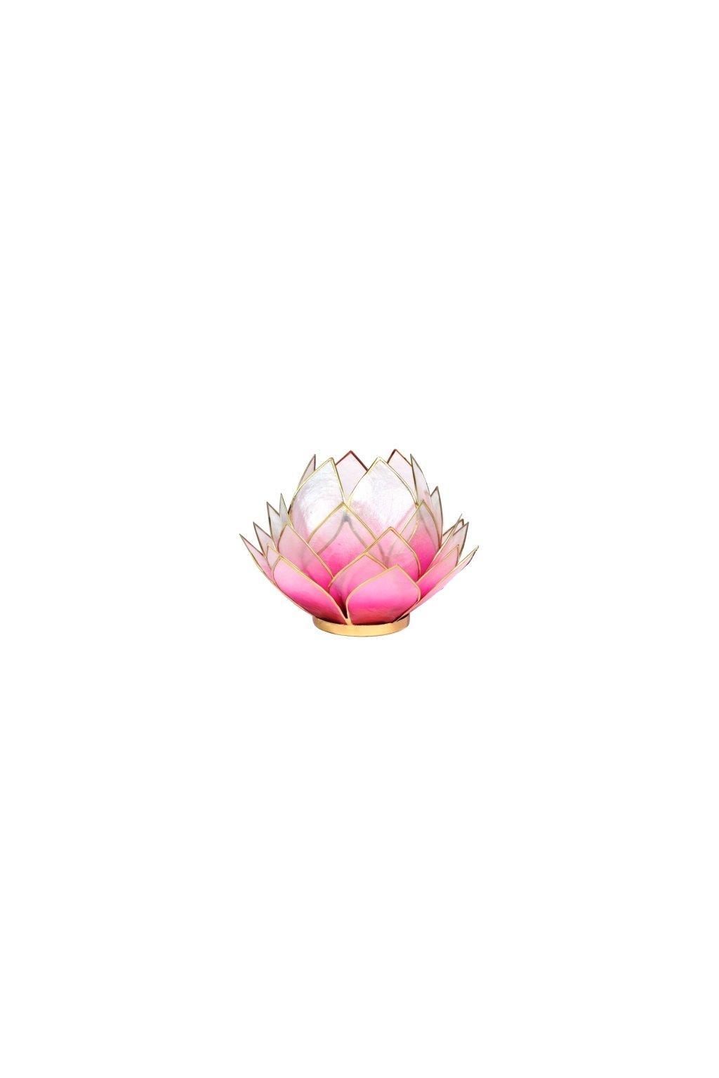 Lotosový svícen - světle růžová - velký