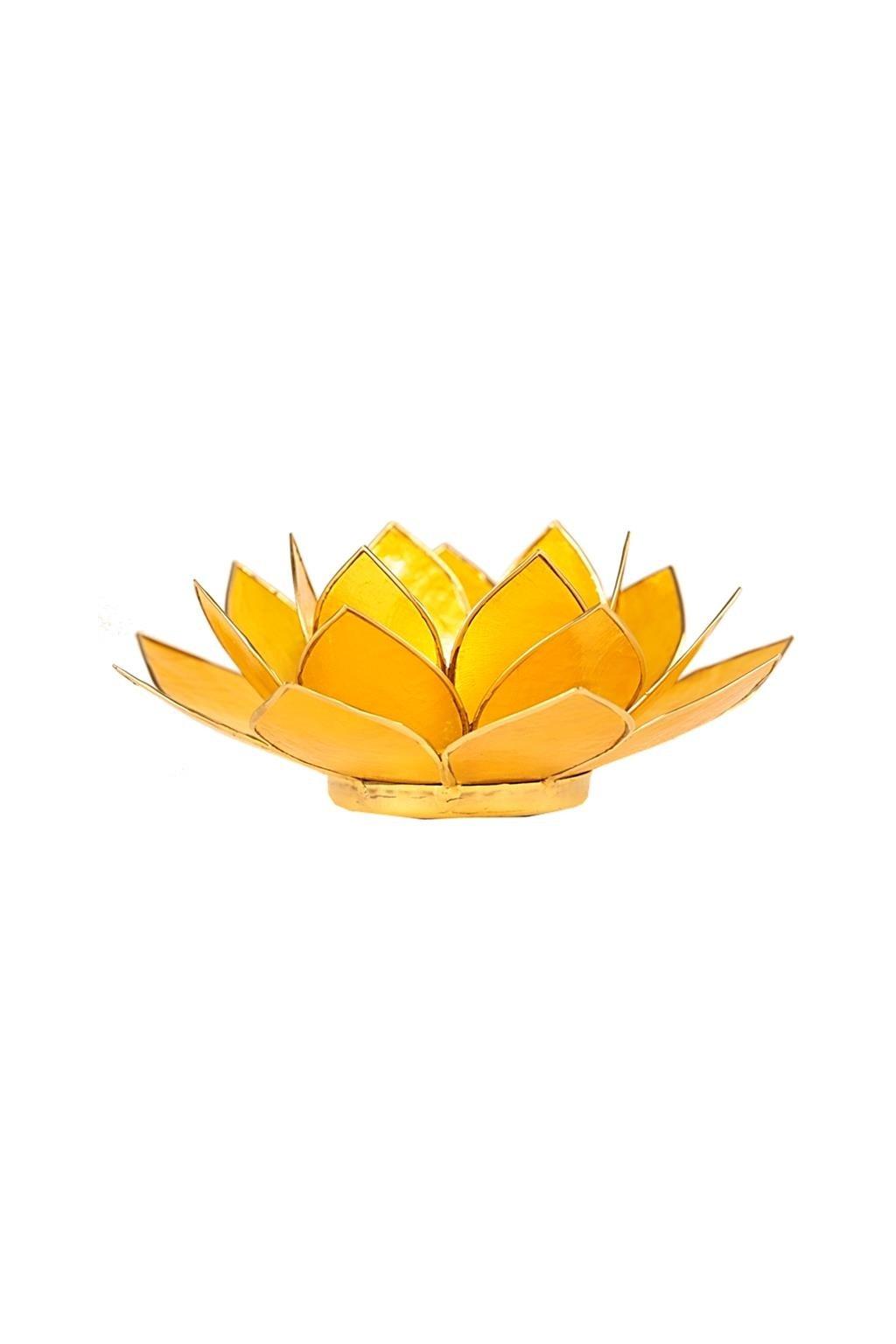 Lotosový svícen 3. čakra - zlatý okraj