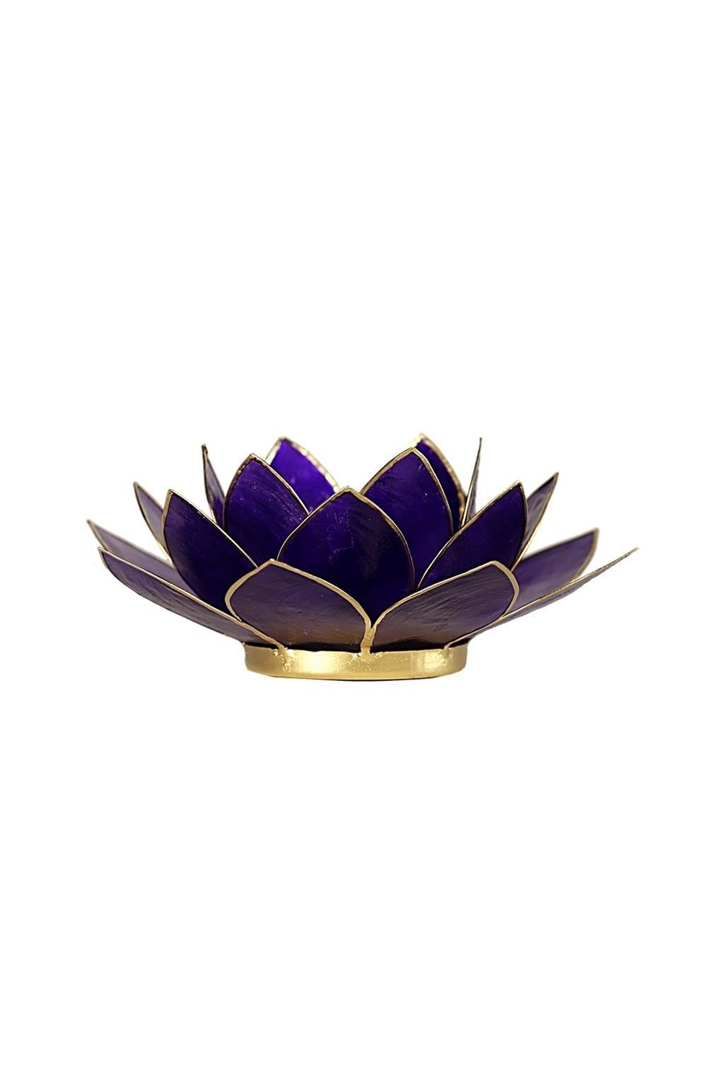 Lotosový svícen 7. čakra - zlatý okraj