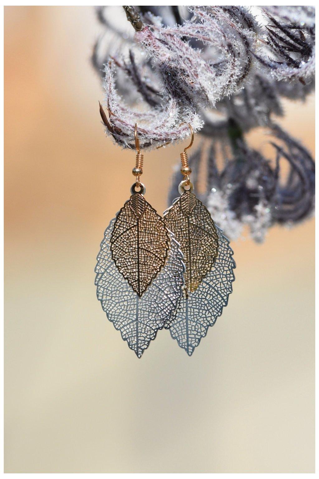 Náušnice Listy - stříbrno-zlaté