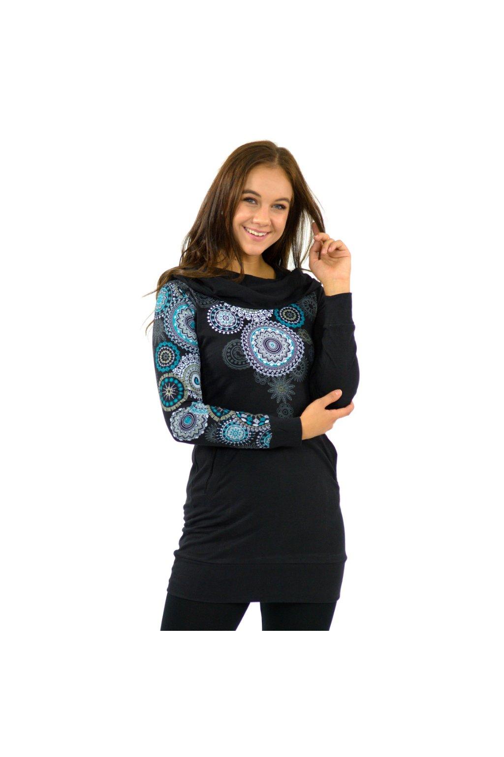 Prodloužená mikina Elisha s maxi kapucí - černá s tyrkysovou