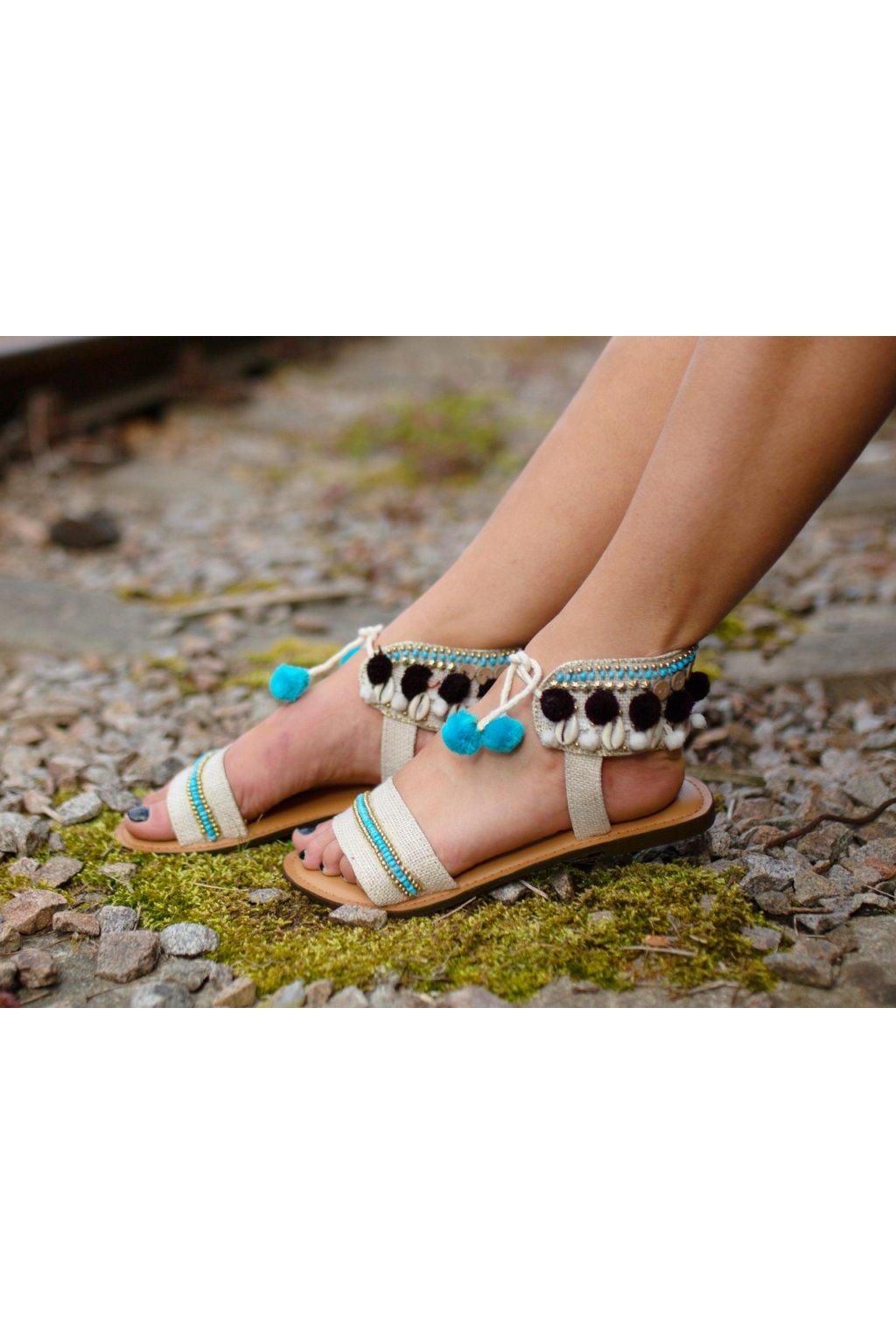 Ručně vyráběné sandále - béžové s tyrkysovou