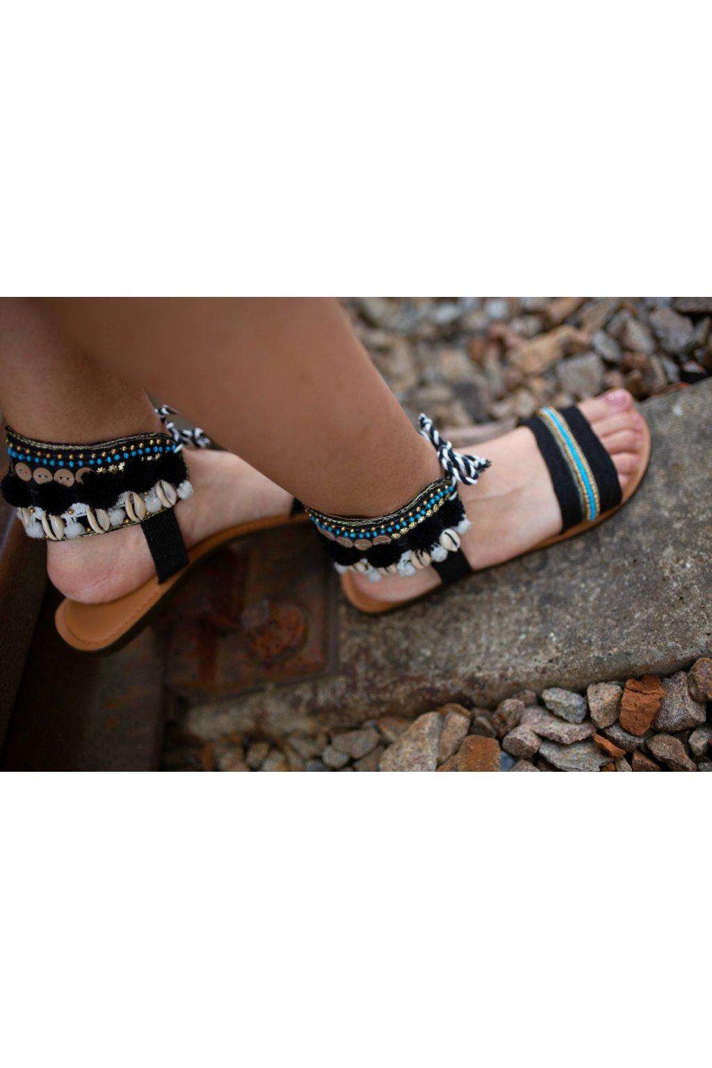 Ručně vyráběné sandále - černé s tyrkysovou