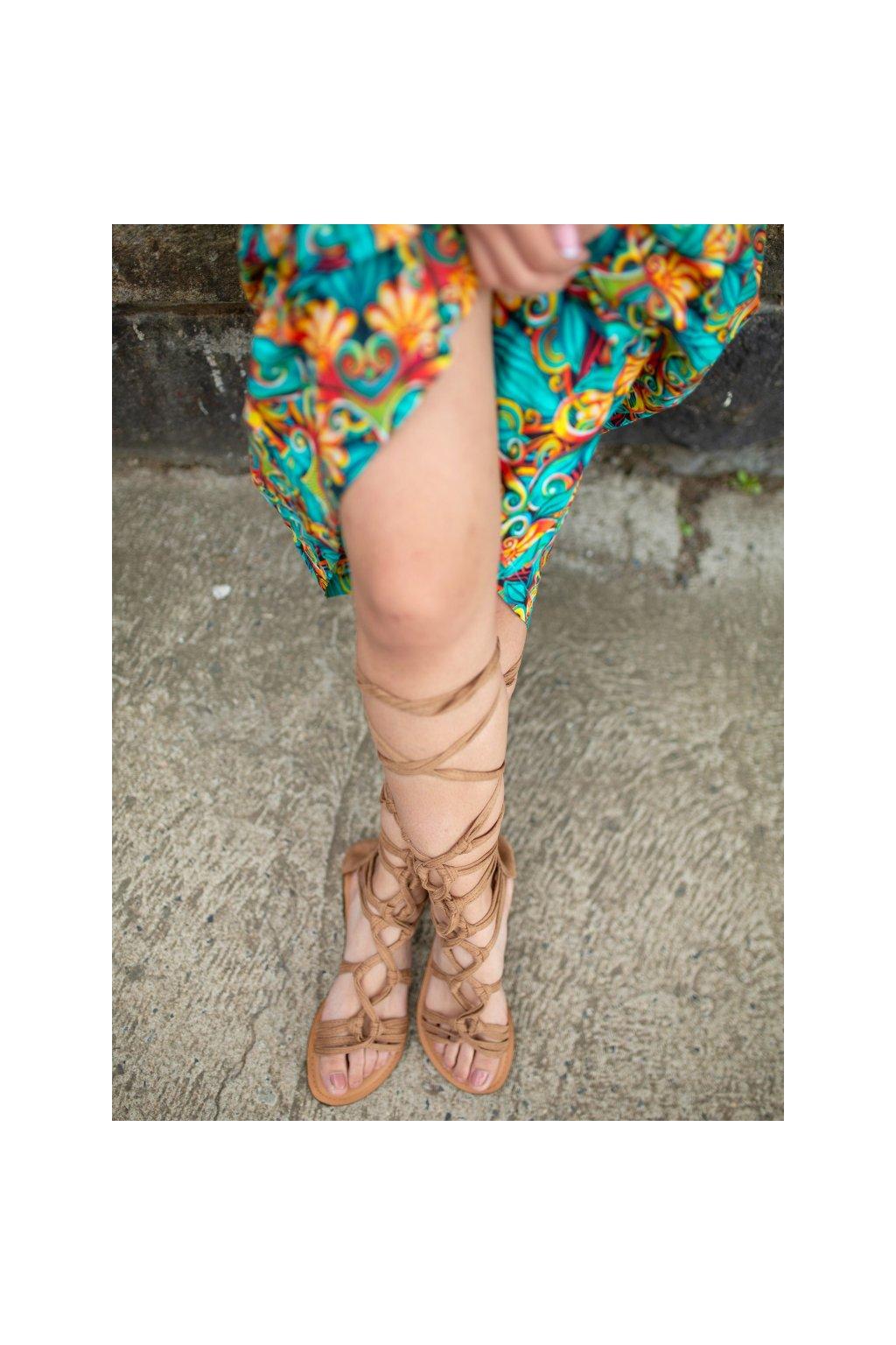 Ručně vyráběné sandále gladiátorky - béžové