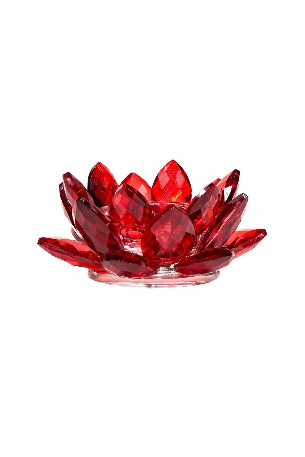 Skleněný svícen Lotos - červený