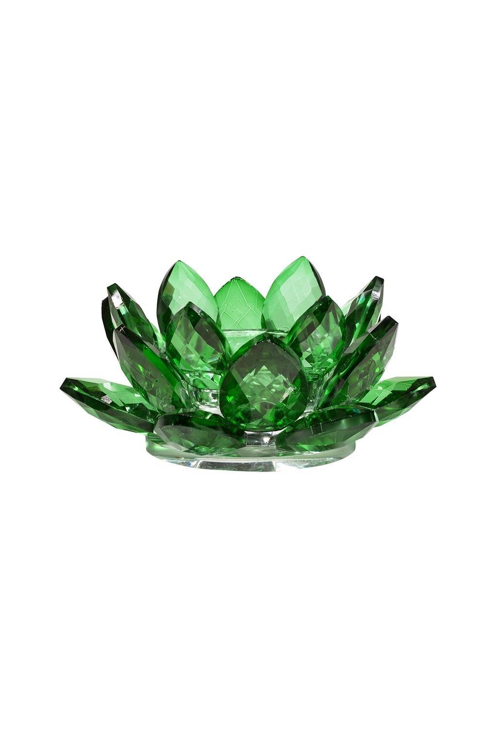 Skleněný svícen Lotos - zelený