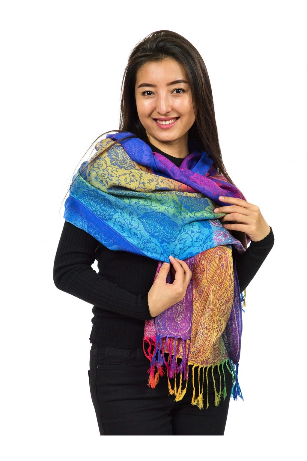Šátek pašmína Nepal - čakrová tmavá