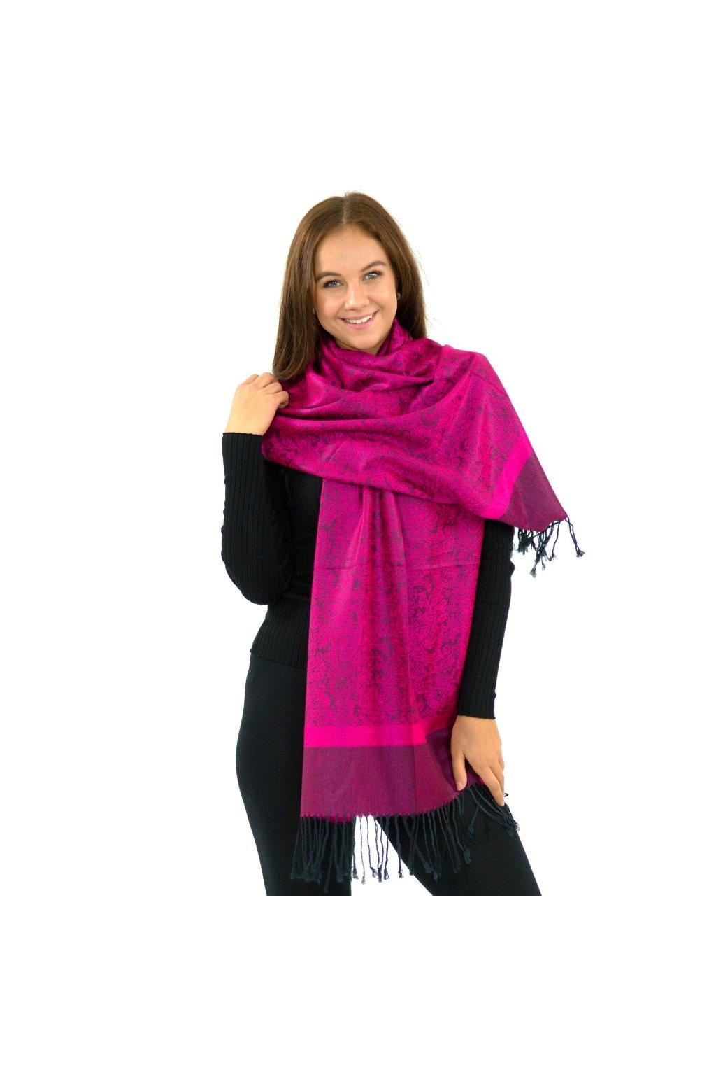 Šátek pašmína Nepal - fuchsiová