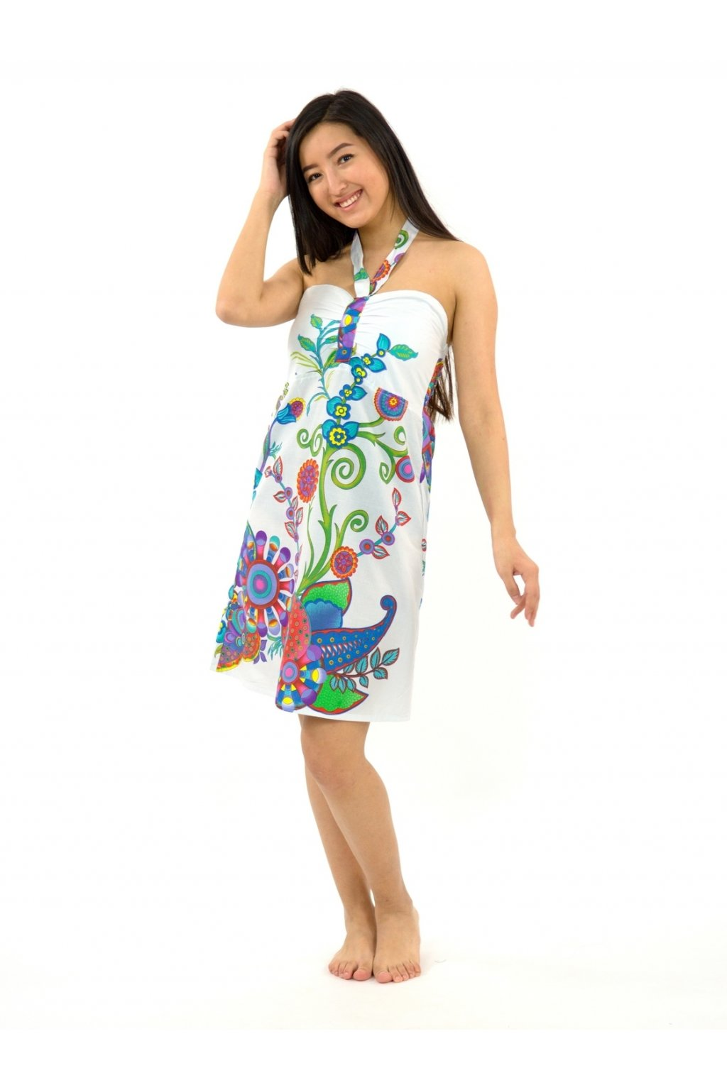 Šaty za krk Indu - bílé s květinami