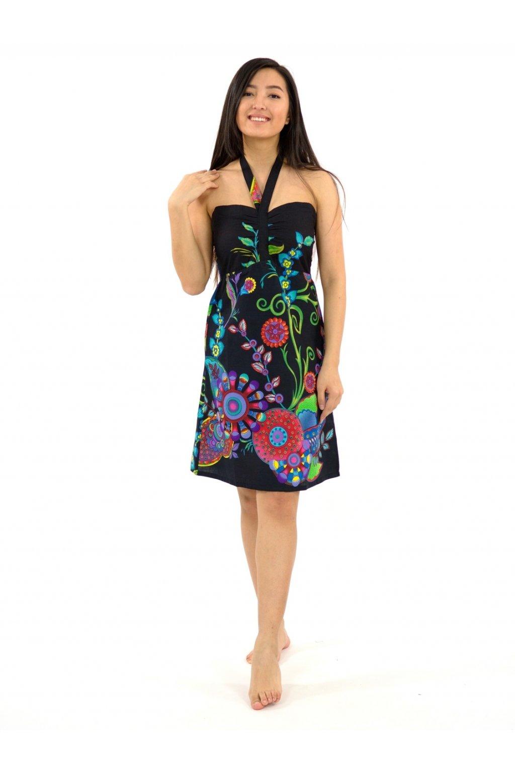 Šaty za krk Indu - černé s květinami