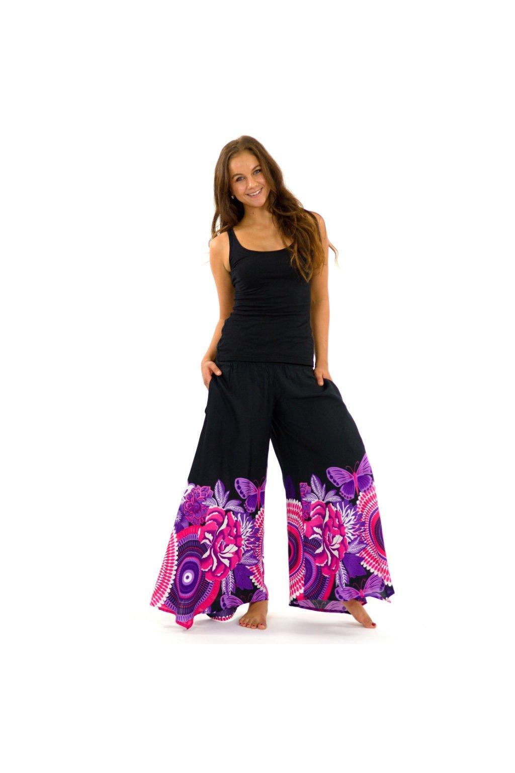 Široké kalhoty Fly - černé s fialovou