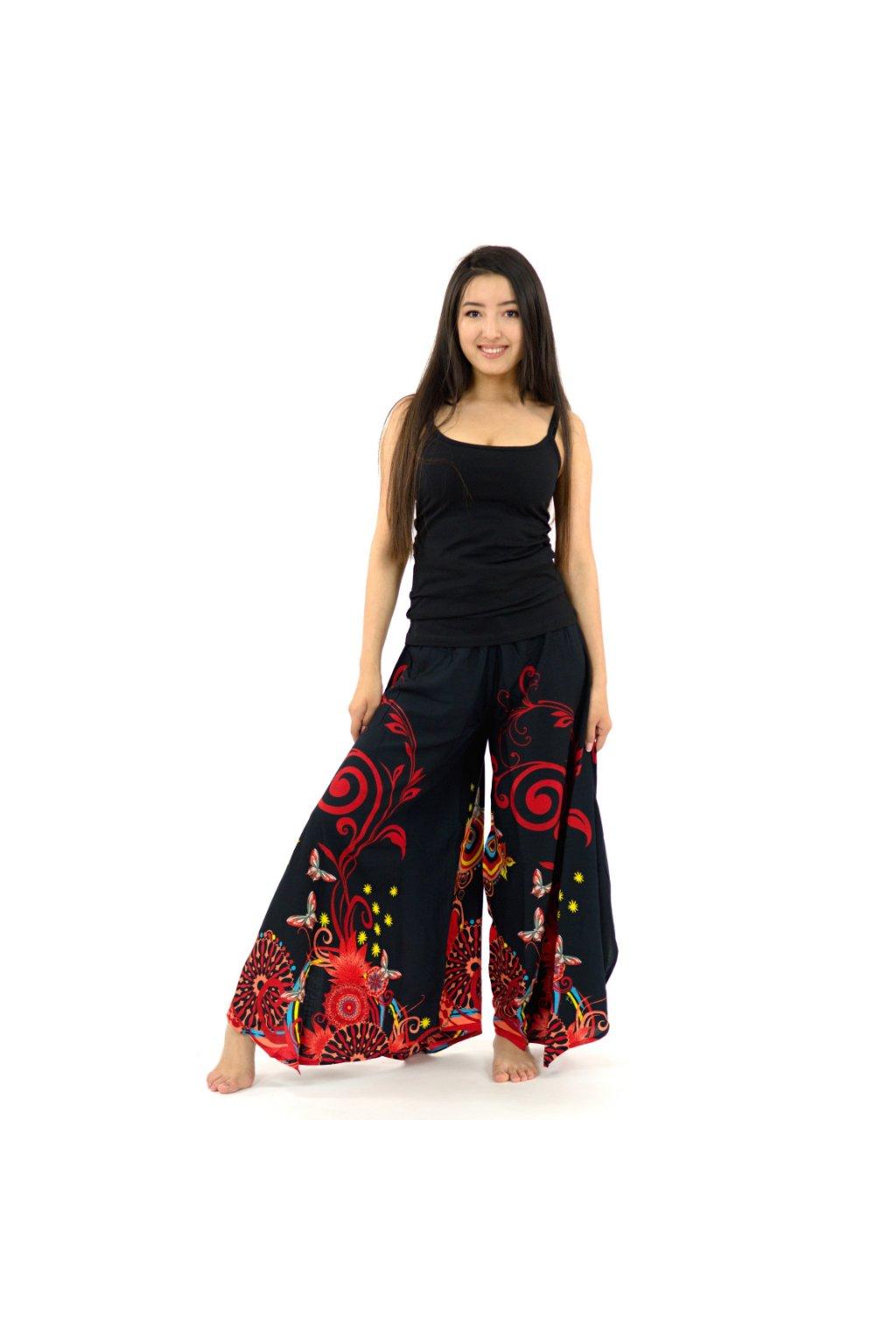 Široké kalhoty Suwa - černo-barevné