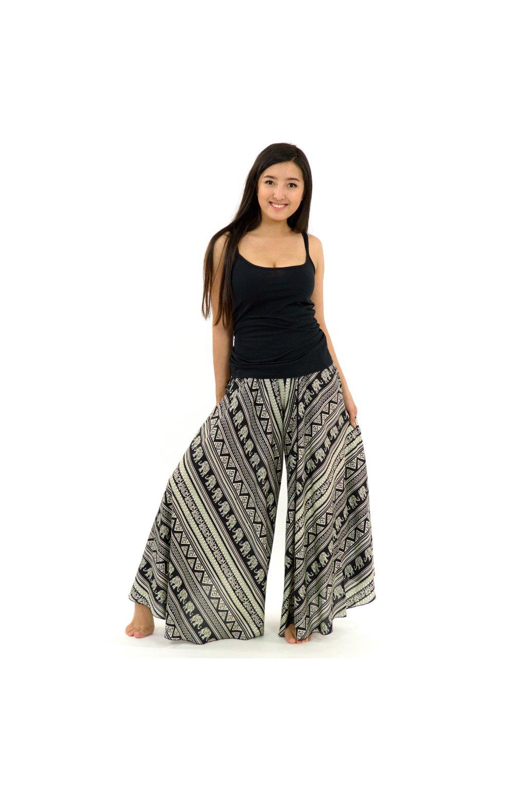 Široké maxi kalhoty Esha - černo-béžové
