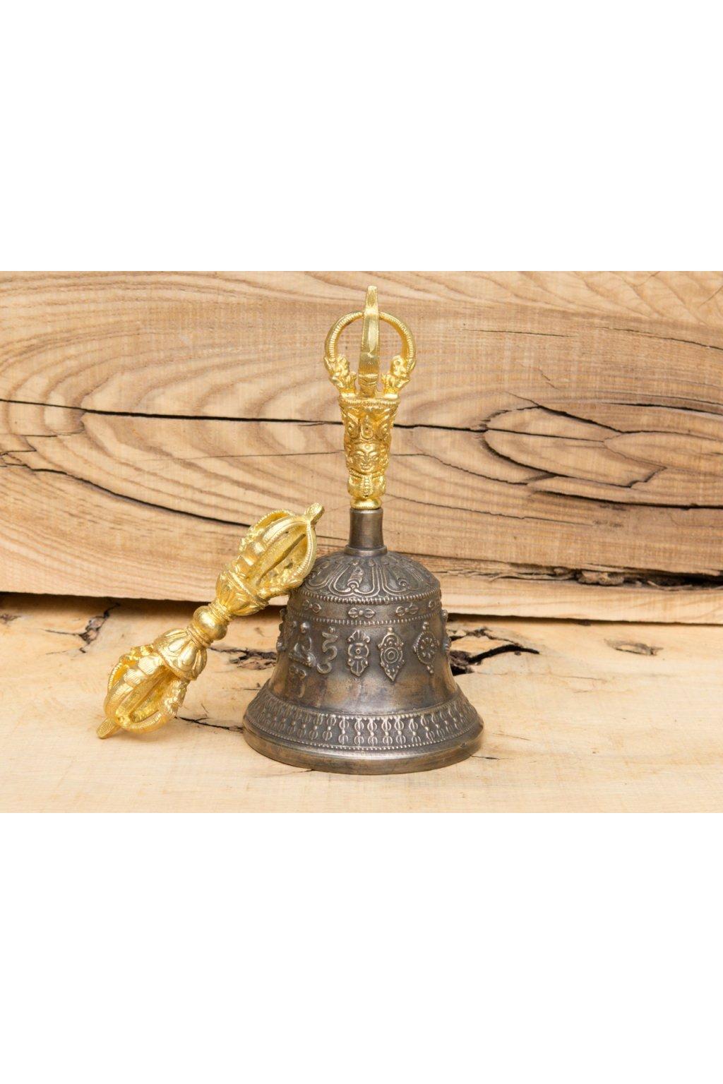 Tibetský rituální zvonek Dilbu a dordže - zdobené