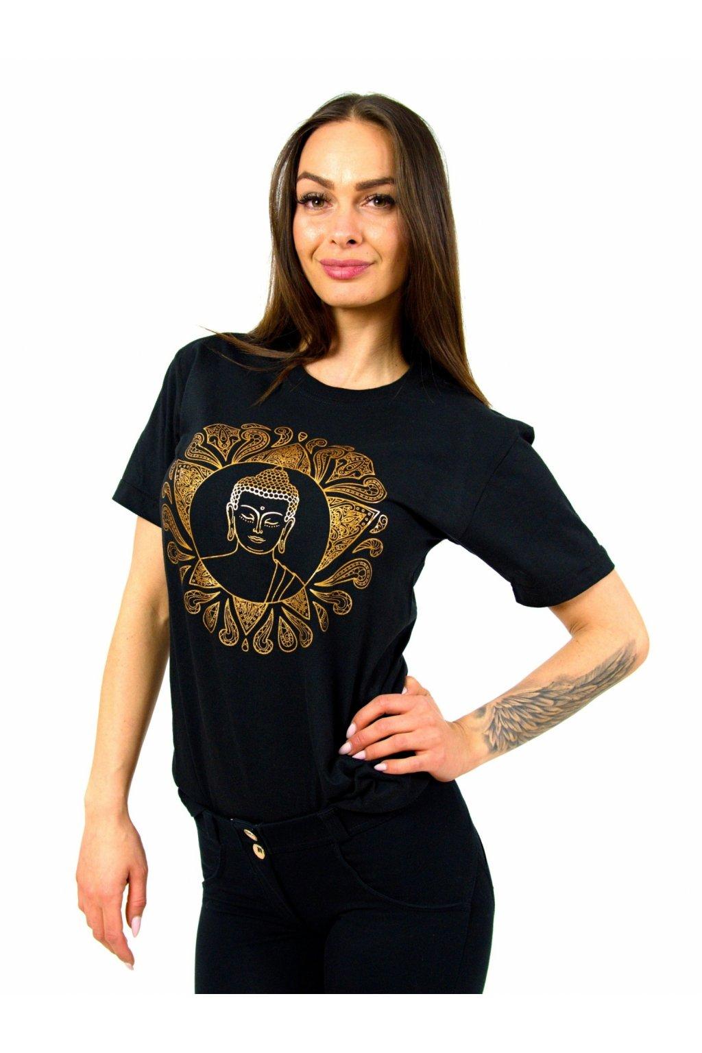 Tričko s potiskem Buddha - černé se zlatou