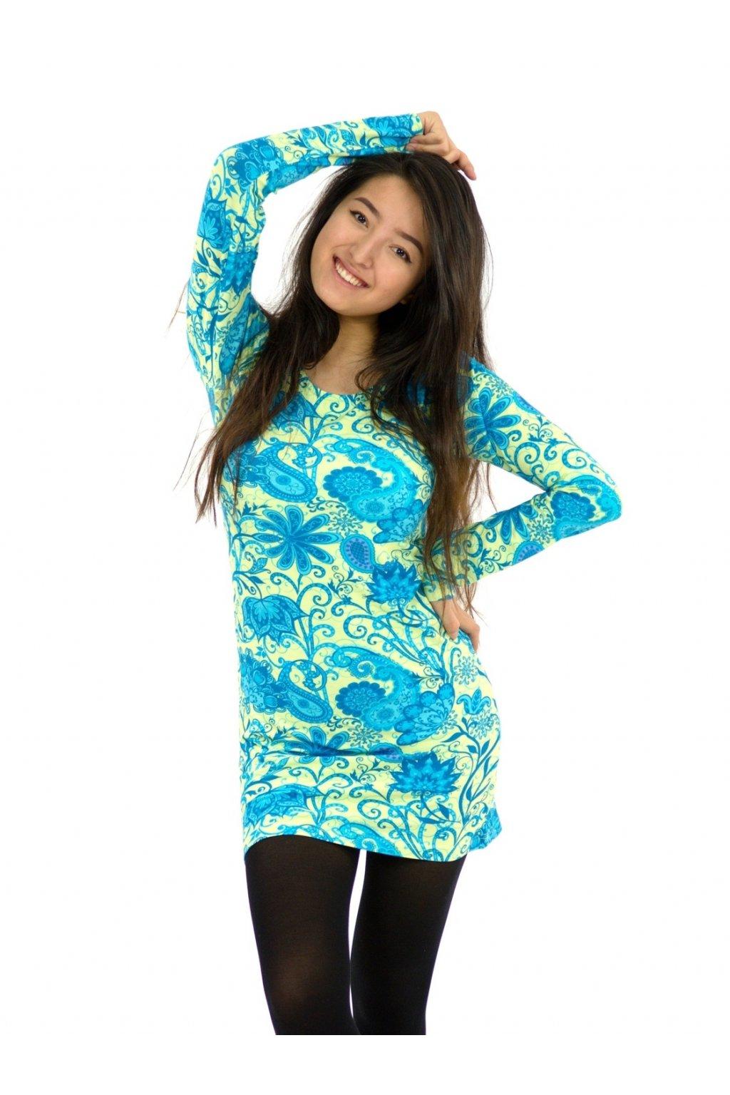 Tunika / šaty Ellen - vanilková s tyrkysovou
