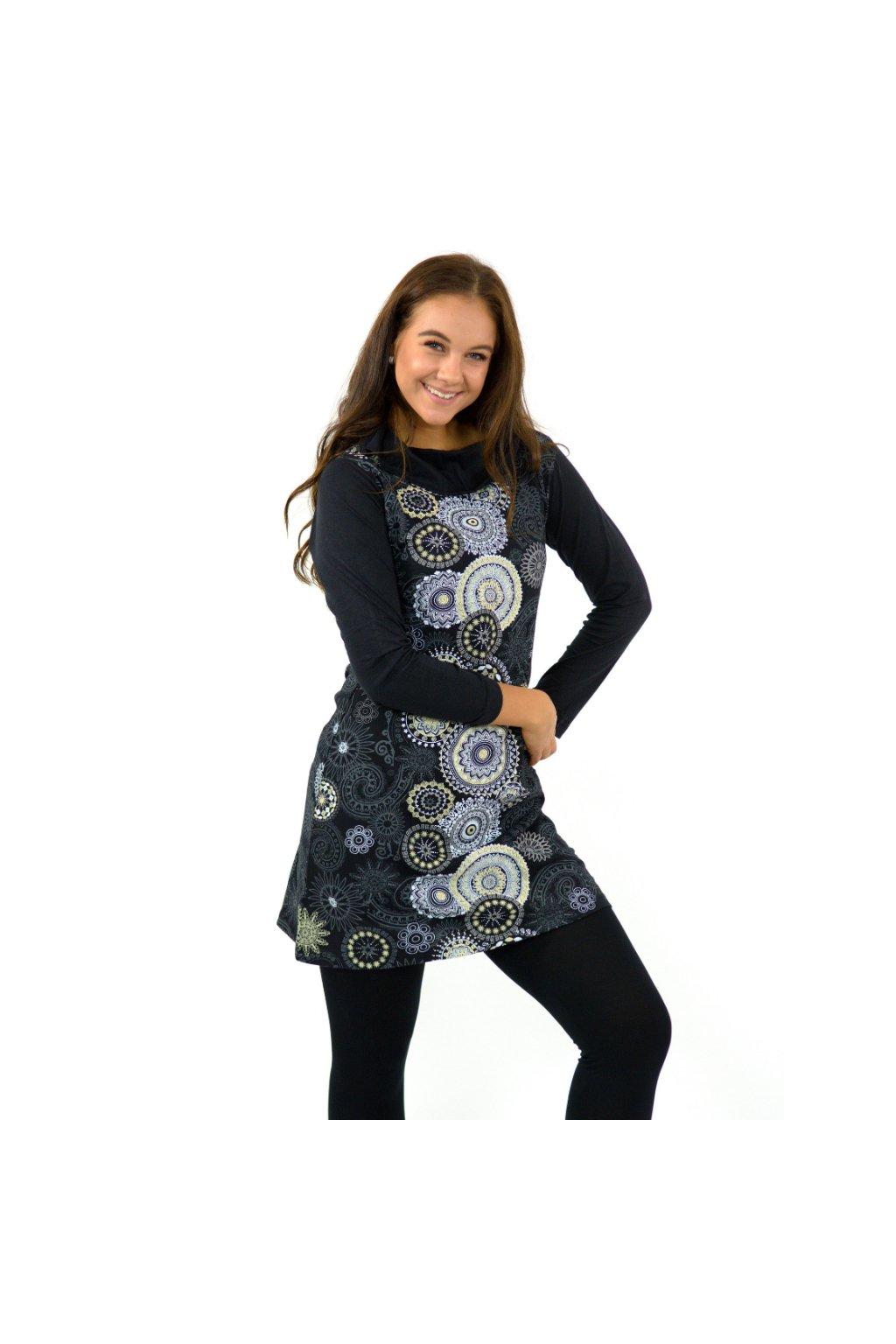 Tunika / šaty s límcem Sarita - černá s béžovou