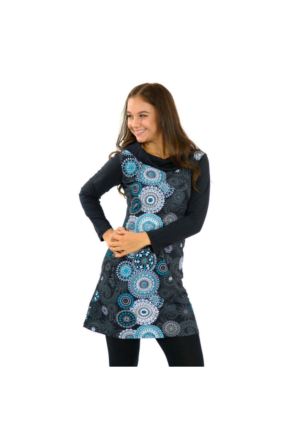 Tunika / šaty s límcem Sarita - černá s tyrkysovou