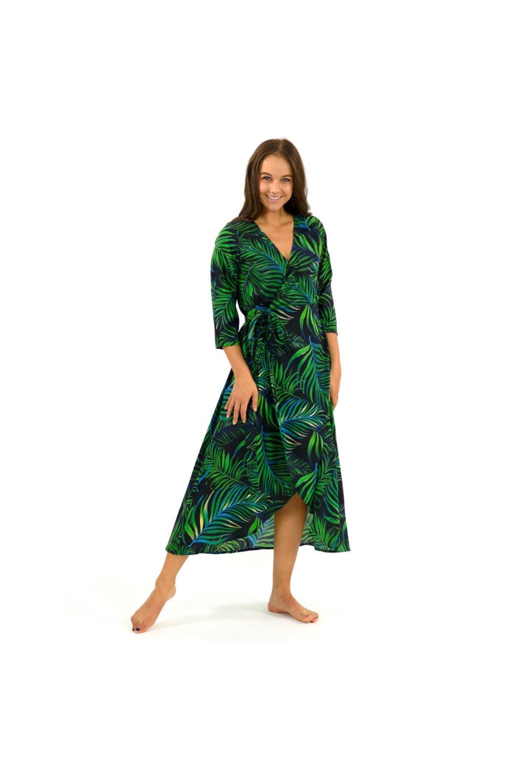 Zavinovací šaty/kardigan 2v1 - Listy