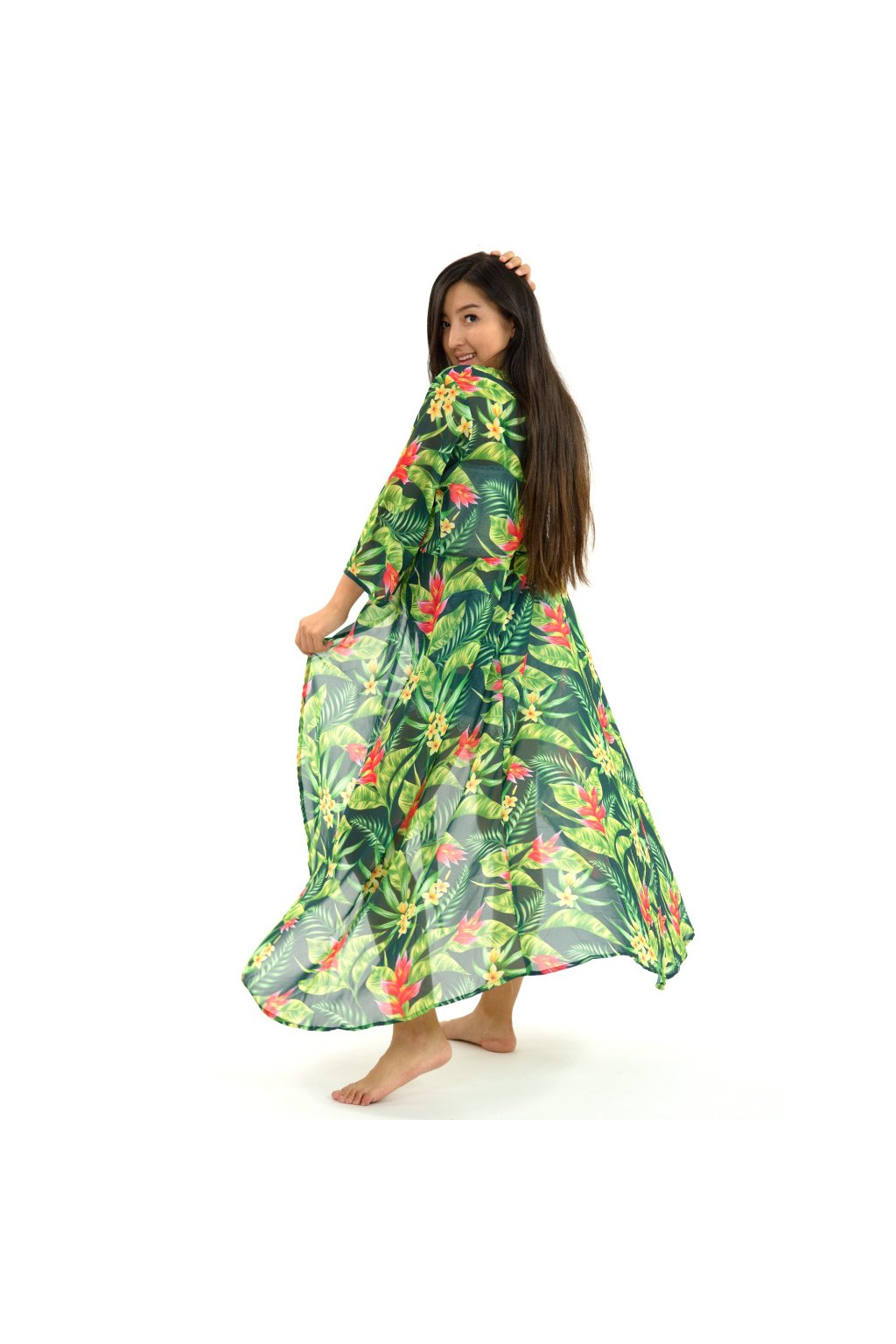 Zavinovací šaty/kardigan 2v1 - Plumeria