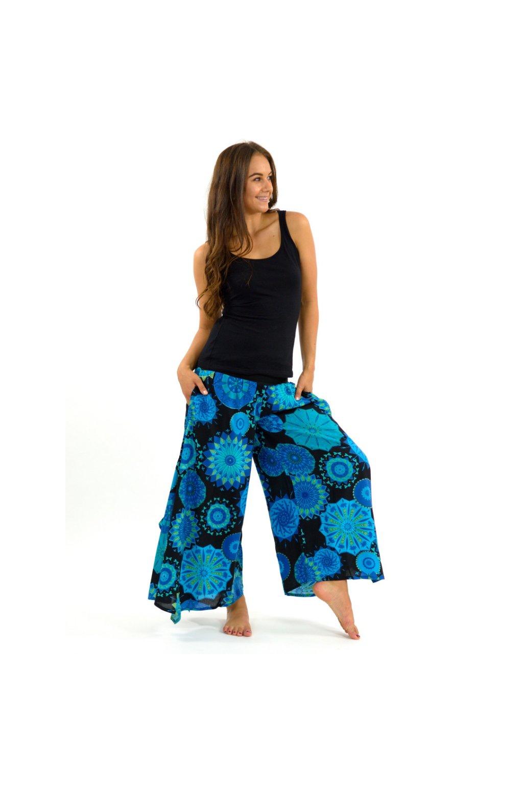 Široké kalhoty Indha - černá s tyrkysovou