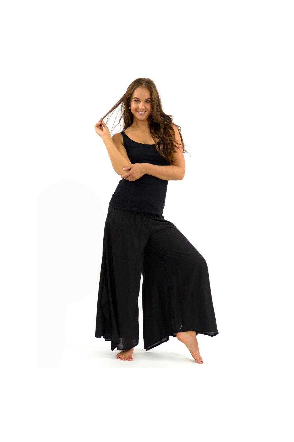 Široké kalhoty Plain - černé