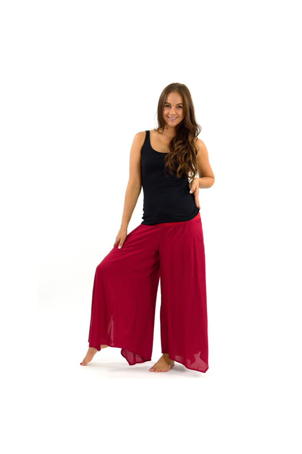 Široké kalhoty Plain - červené