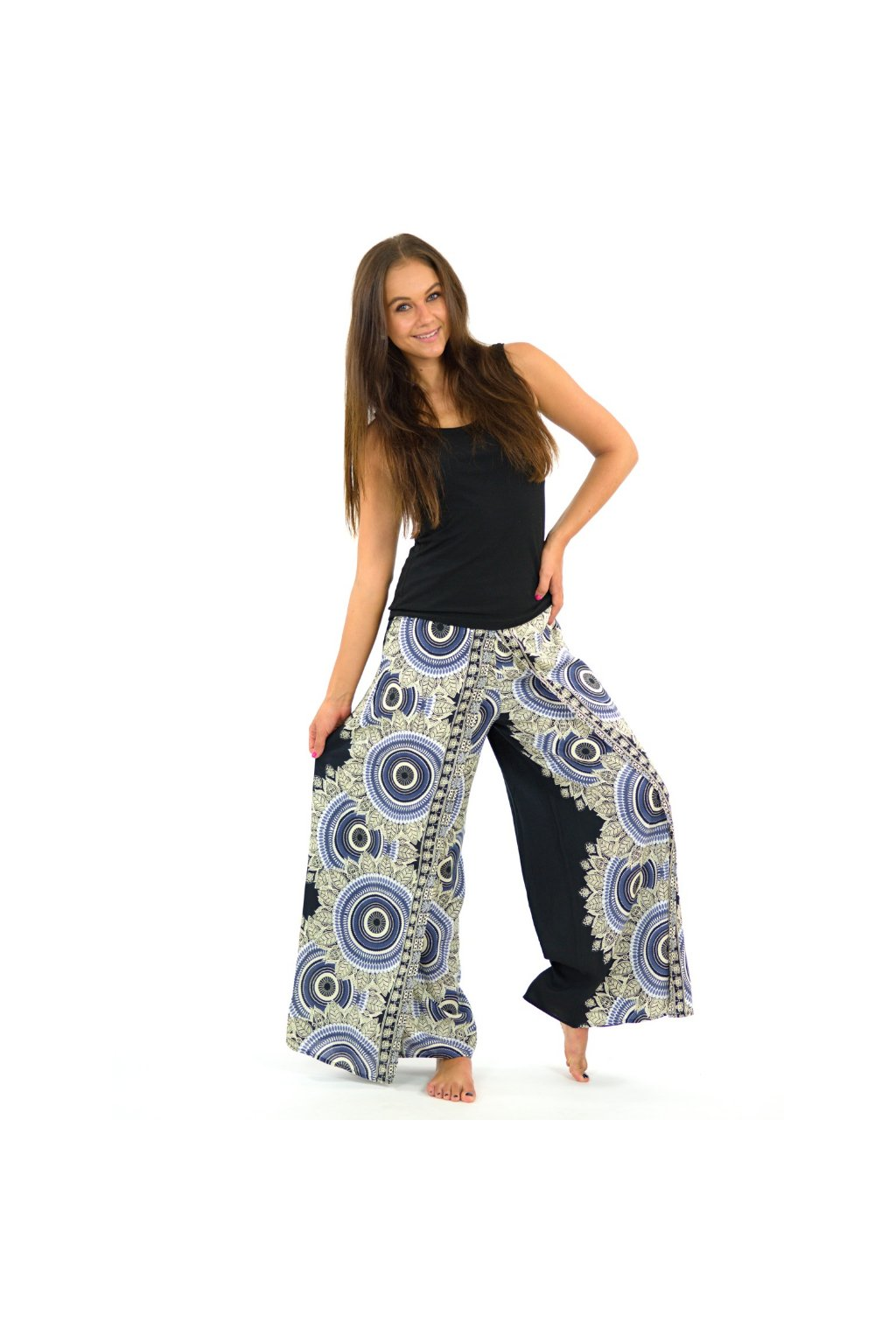 Zavinovací široké kalhoty Hasita - černo-fialové