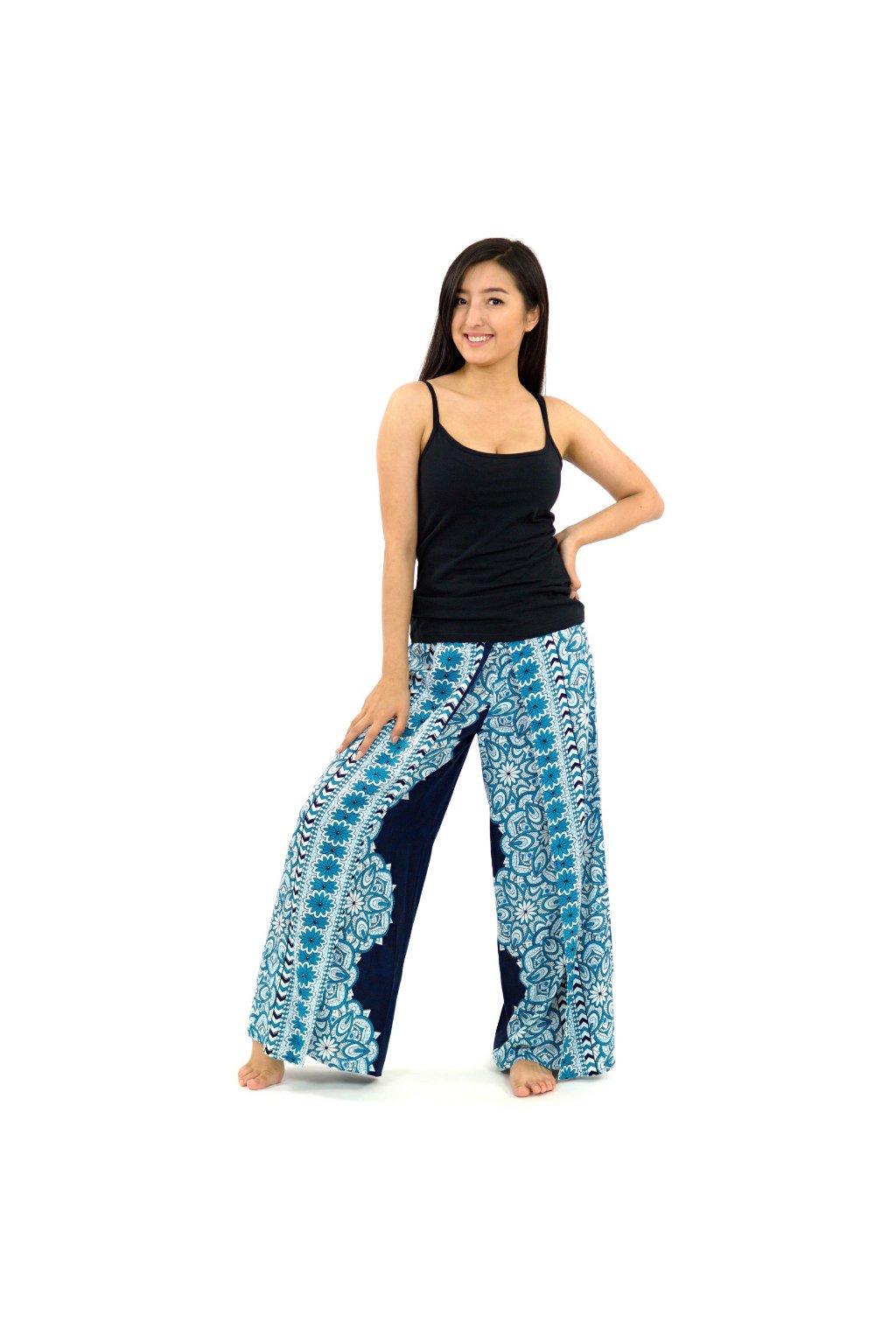Zavinovací široké kalhoty Bhakti - modré
