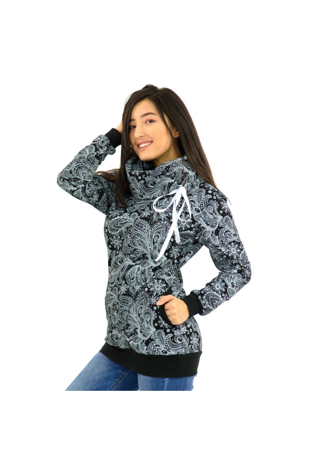 Mikina s límcem Mauna - černá s bílou