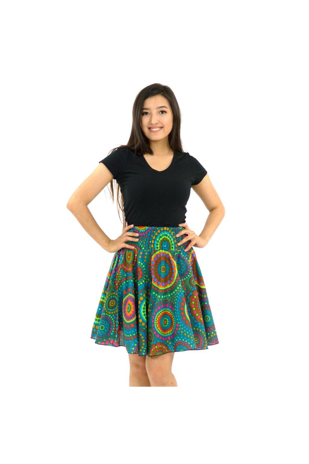 Kolová sukně Dot - tyrkysová