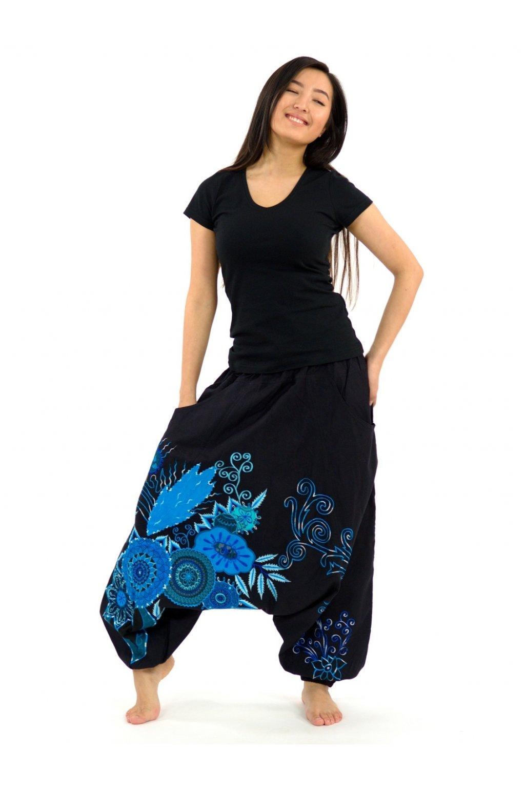 Teplejší harémové kalhoty Asmita  - černé s tyrkysovou