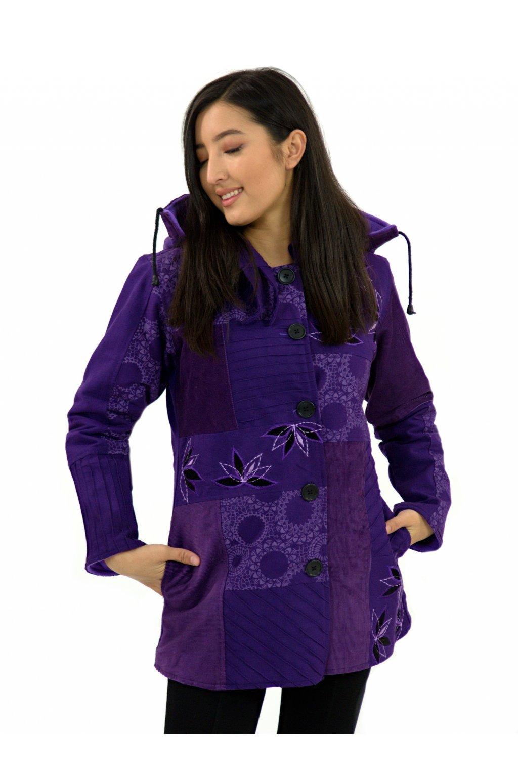Podzimní/zimní kabát Nepálský lotos - fialový