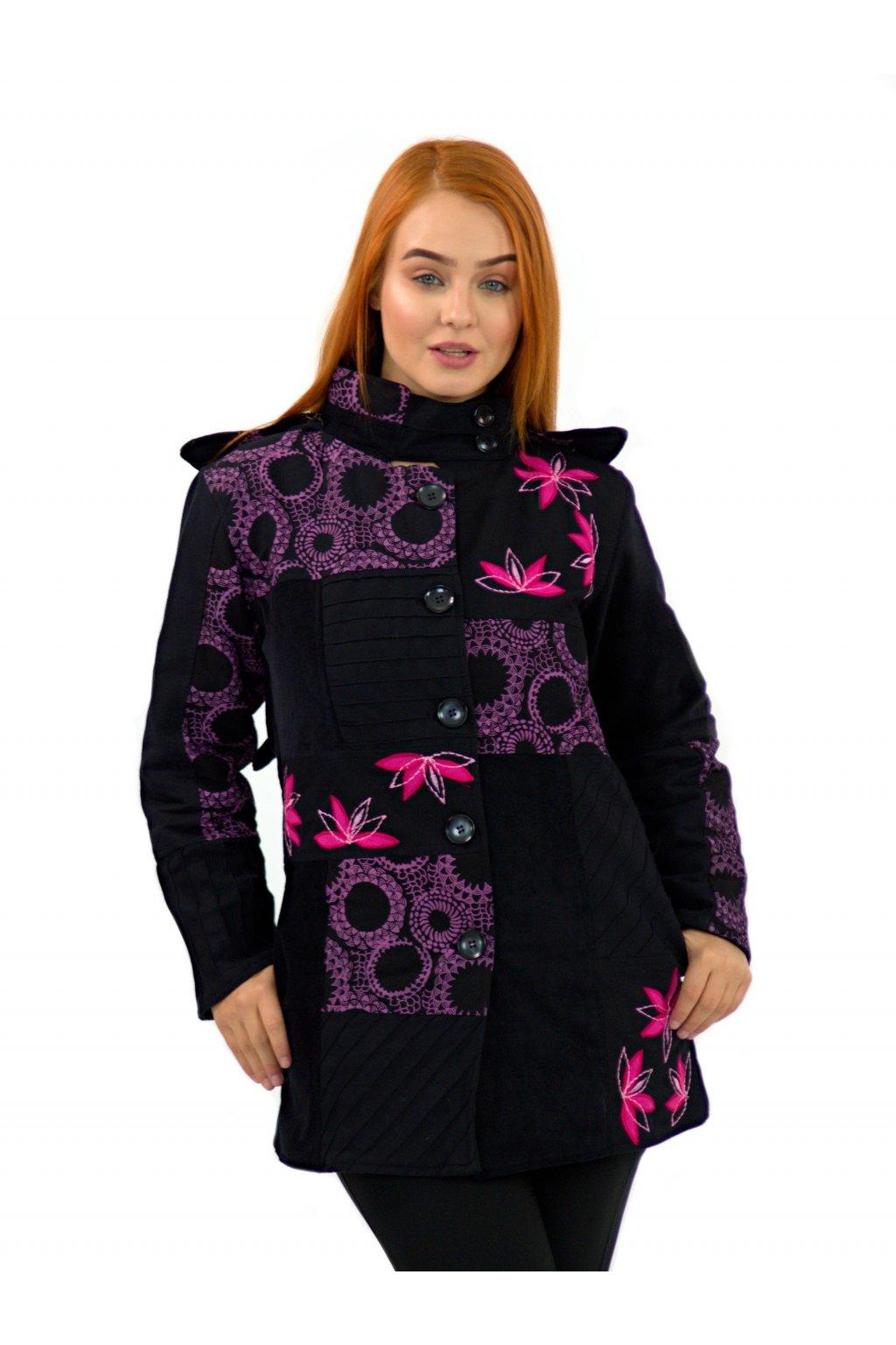 Podzimní/zimní kabát Nepálský lotos - černý s růžovou