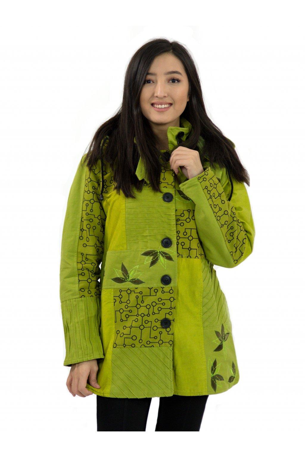 Podzimní/zimní kabát Nepálský lotos - limetková