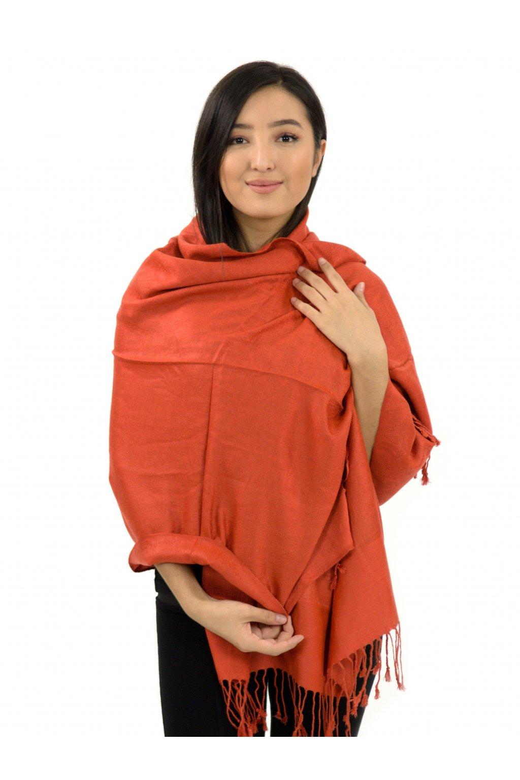 Šátek pašmína Nepal - tmavě meruňková