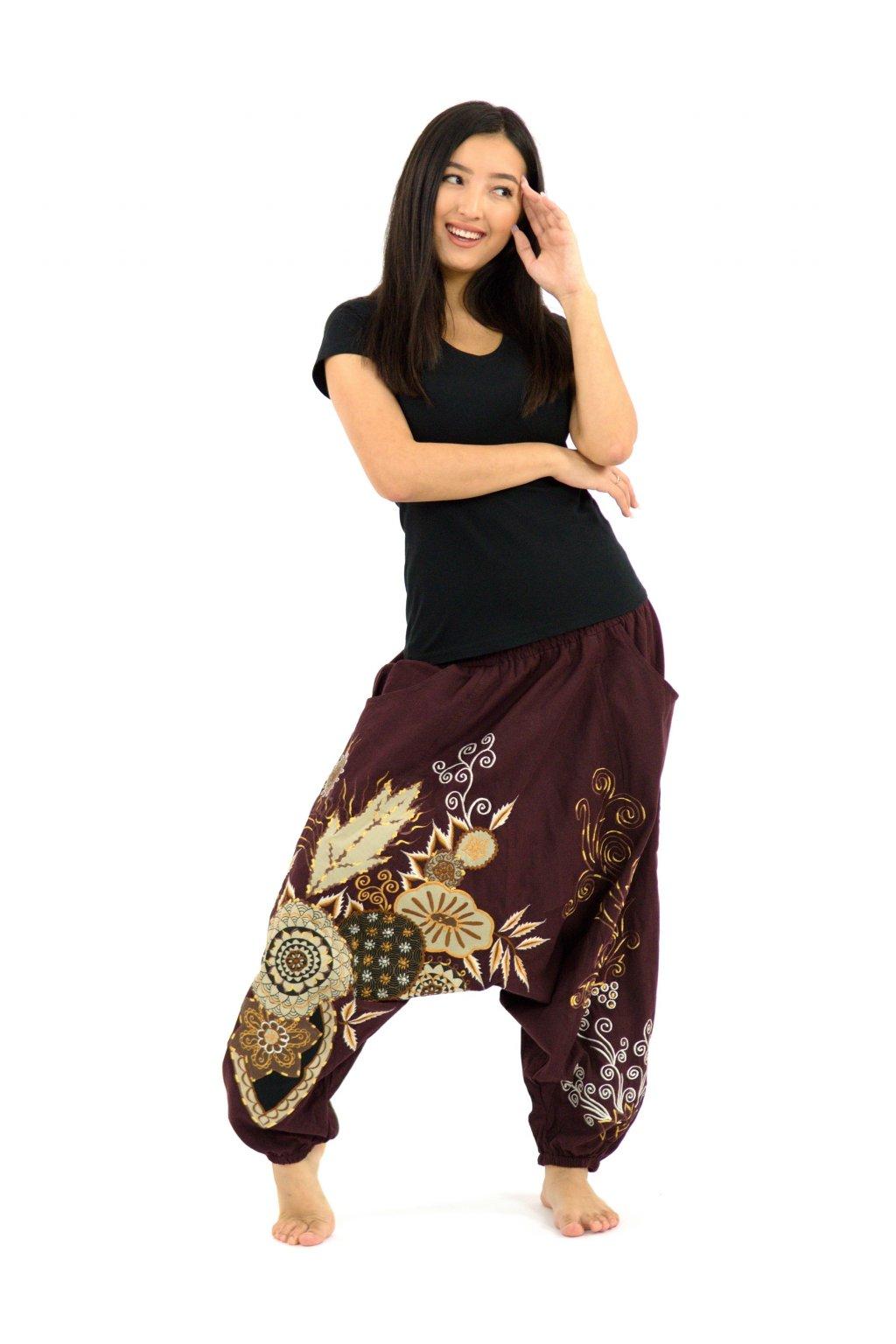 Teplejší harémové kalhoty Asmita  - hnědé