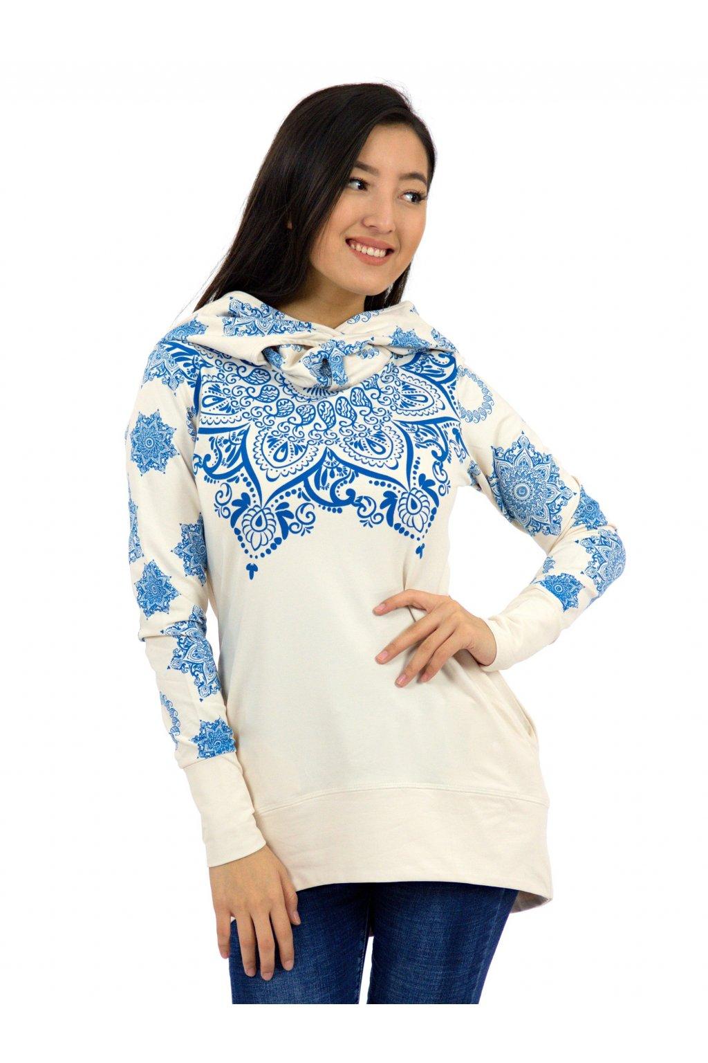 Mikina Moana s maxi kapucí - béžová s modrou