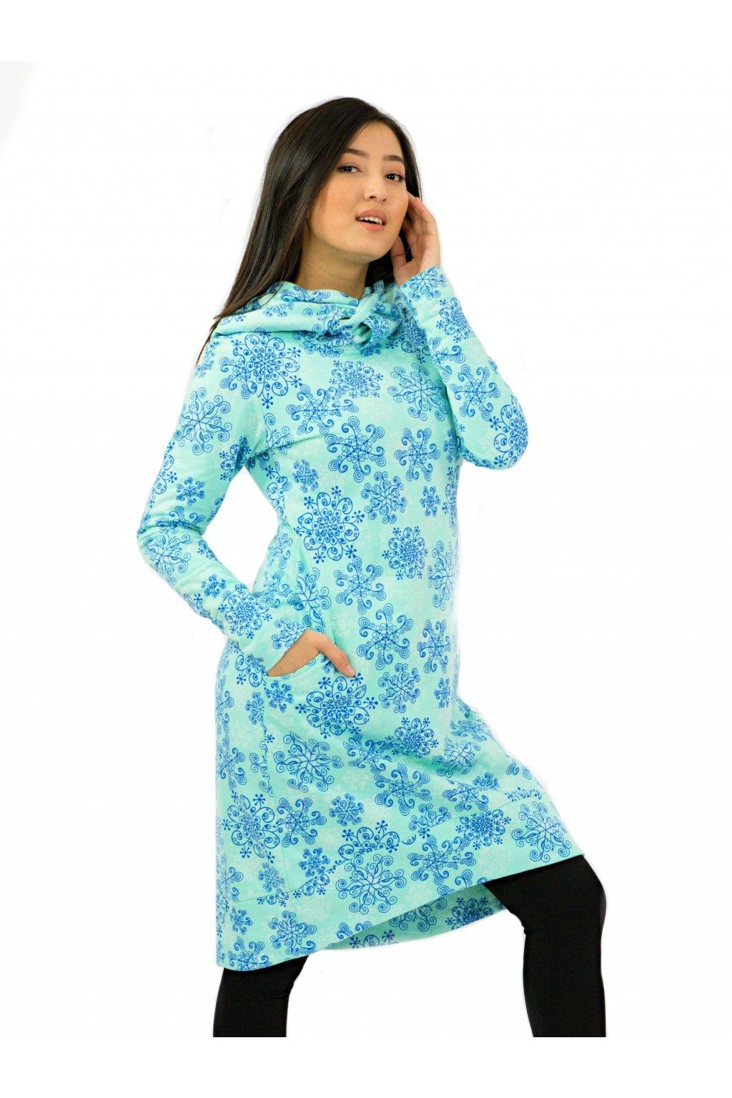 Hřejivá šatomikina Aina s maxi kapucí - tyrkysová s modrou