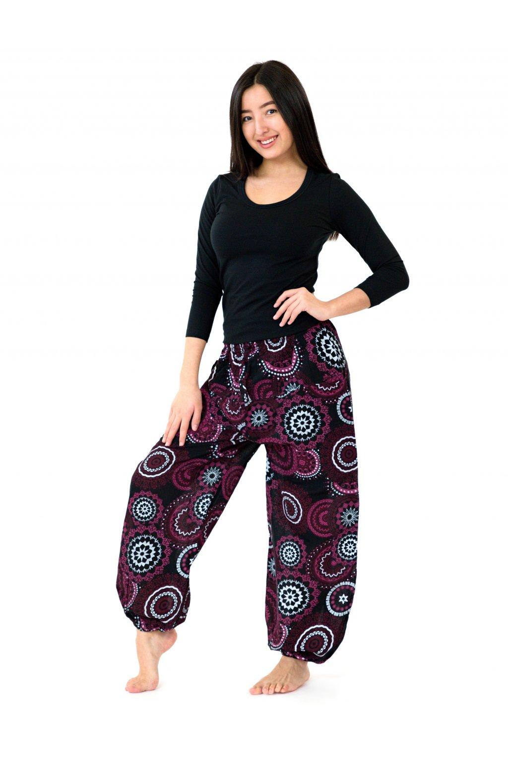 Kalhoty Leera - černá s růžovou