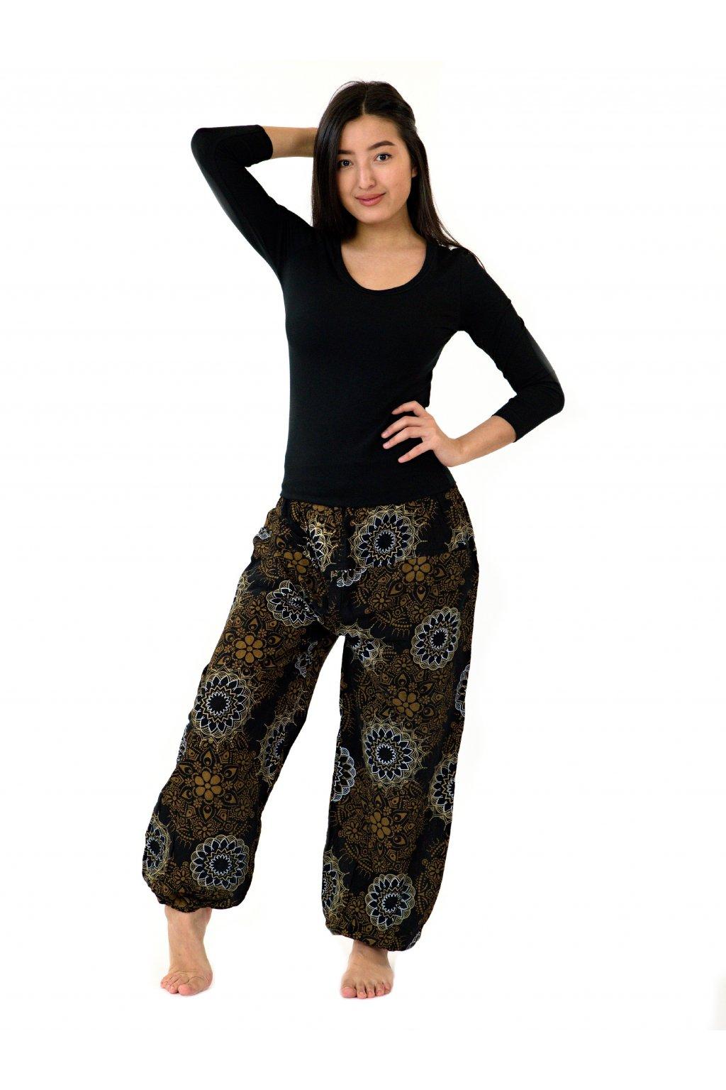 Kalhoty Daya - černá s hnědou