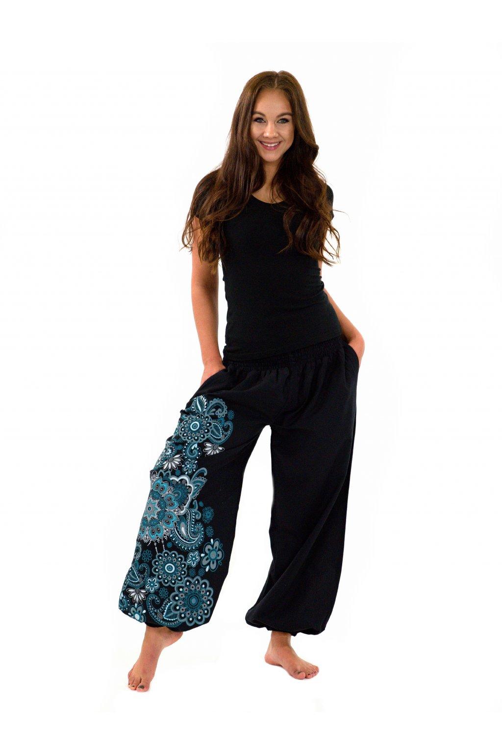 Kalhoty Hanauma - černá s tyrkysovou