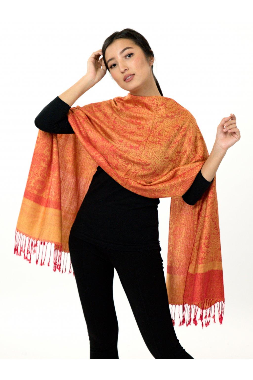 Šátek pašmína Nepal - oranžová