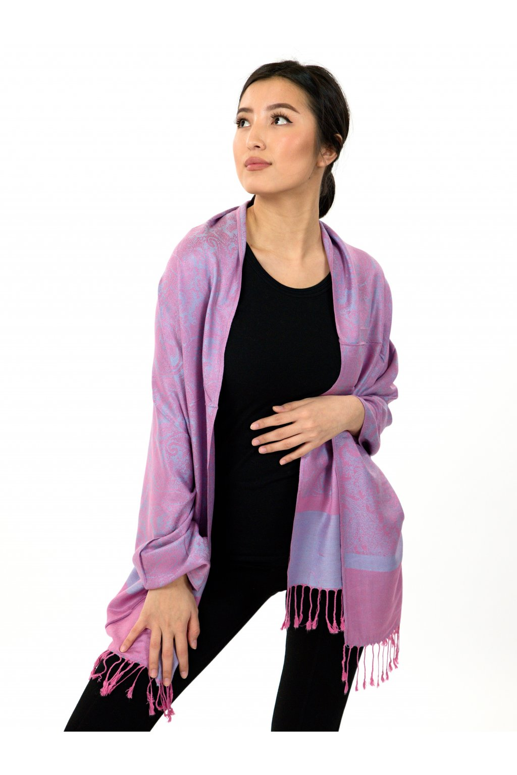 Šátek pašmína Nepal - fialová s růžovou
