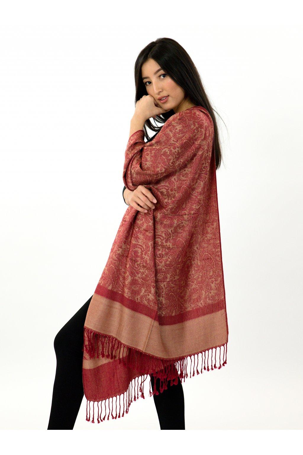 Šátek pašmína Nepal - vínová se zlatou