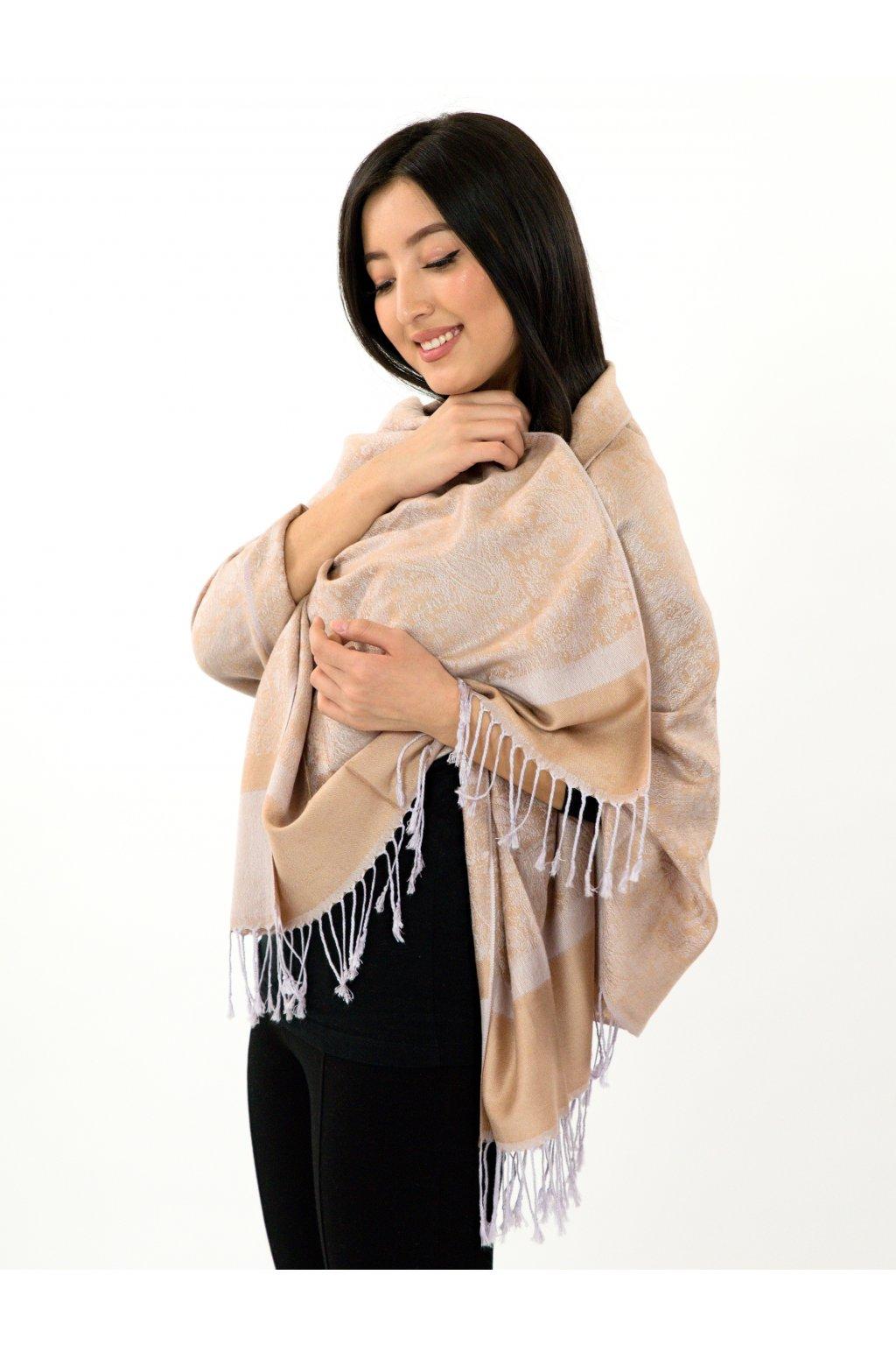 Šátek pašmína Nepal - zlatá s bílou