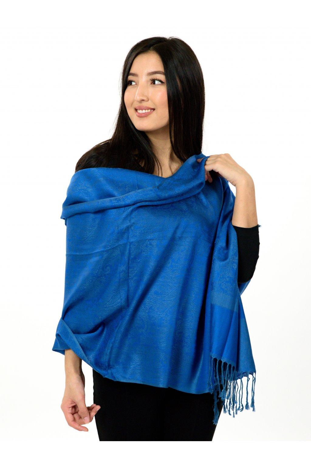 Šátek pašmína Nepal - modrá