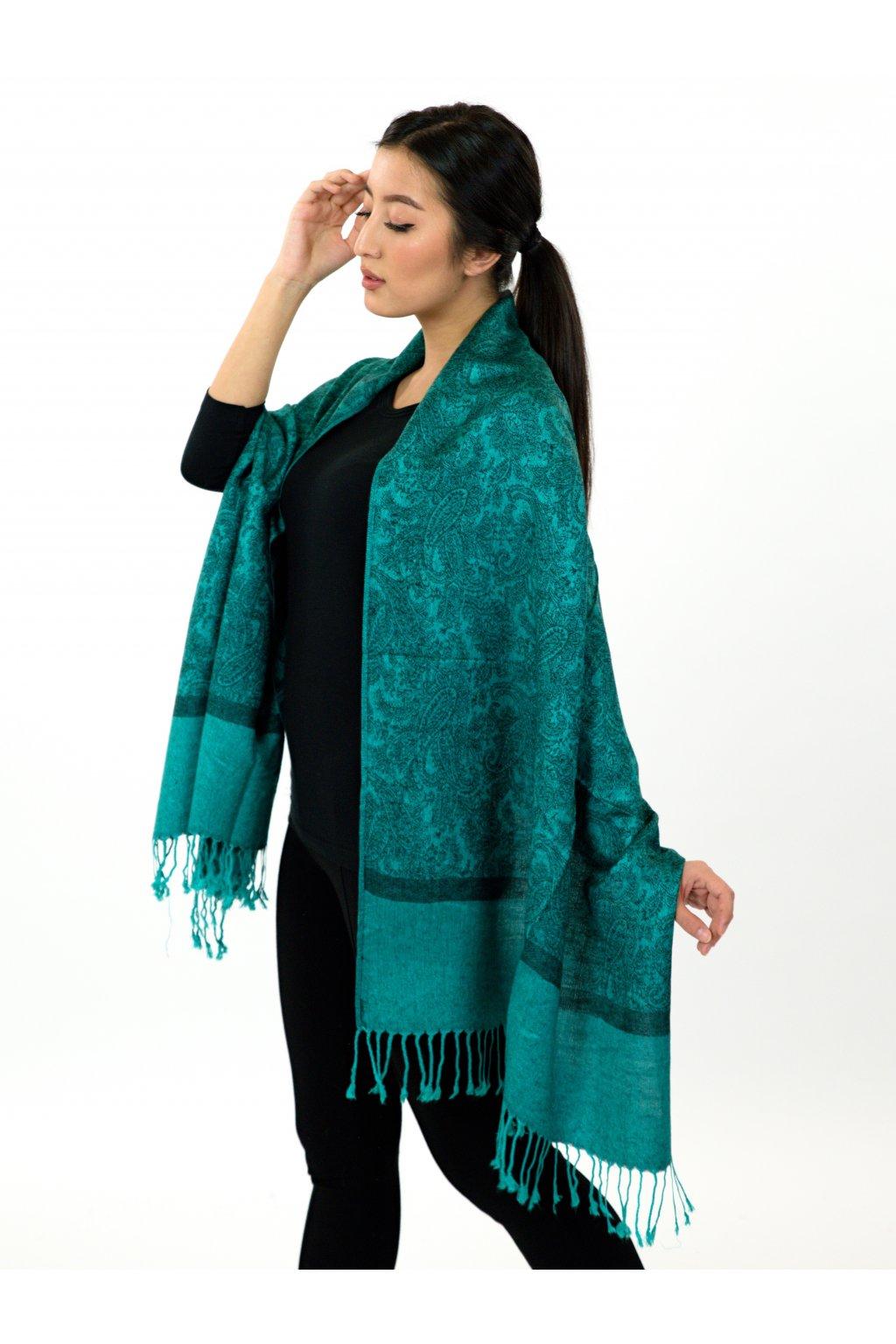 Šátek pašmína Nepal - tyrkysová s černou
